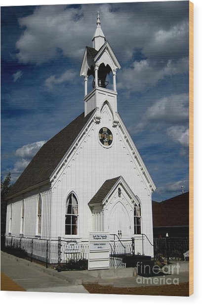 Country Church Wood Print by Claudette Bujold-Poirier