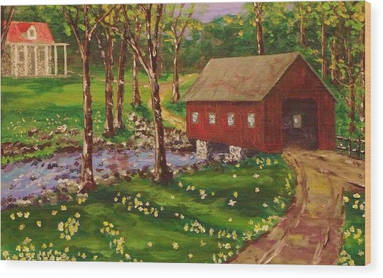 Country Covered Bridge Wood Print