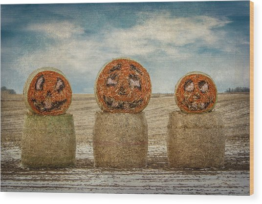 Country Halloween Wood Print