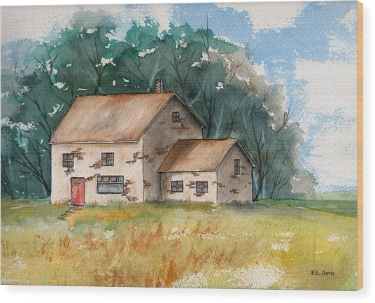Country Home With The Red Door Wood Print