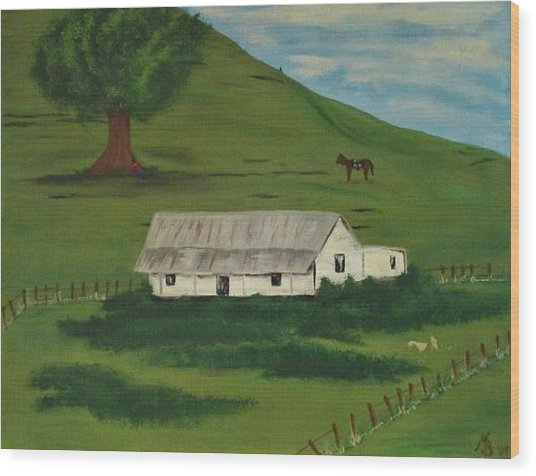 Country Life Wood Print by Melanie Blankenship