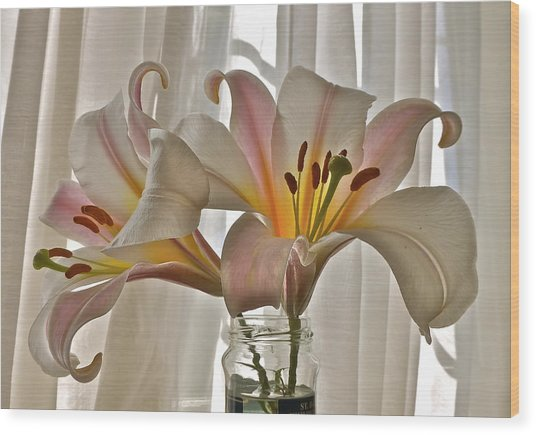 Country Lilies Wood Print
