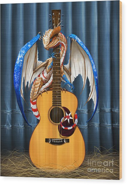 Country Music Dragon Wood Print