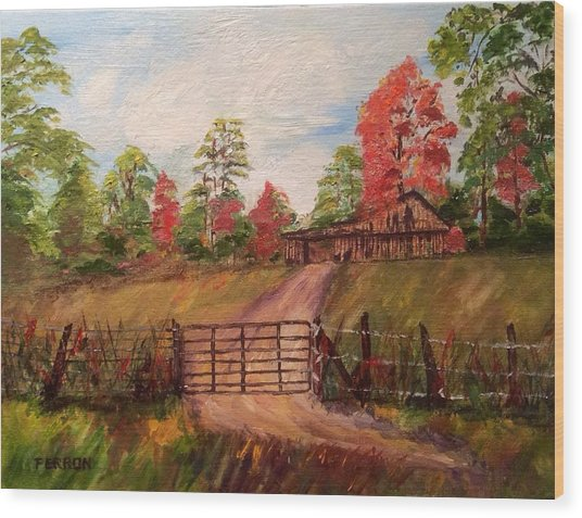 Wood Print featuring the painting Country Road by Patti Ferron