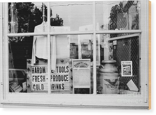 Country Store Window Wood Print