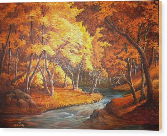 Country Stream In The Fall Wood Print
