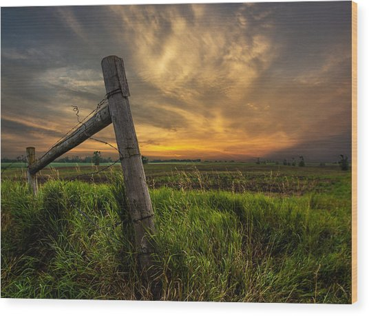 Country Sunrise Wood Print