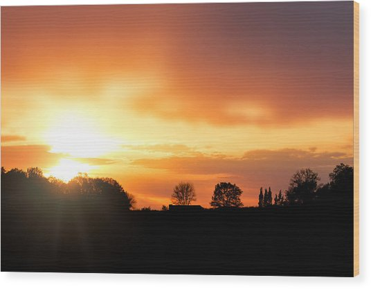 Country Sunset Silhouette Wood Print