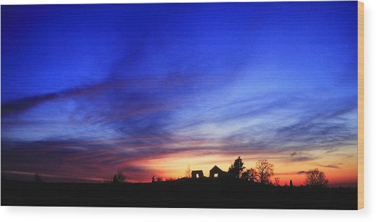 Country Sunset Wood Print by Wendell Thompson