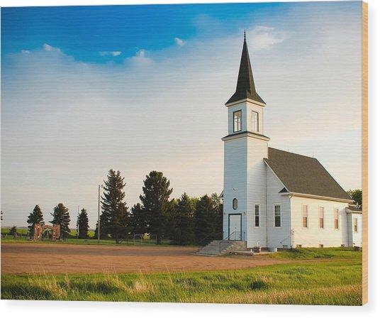 Countryside Church Wood Print