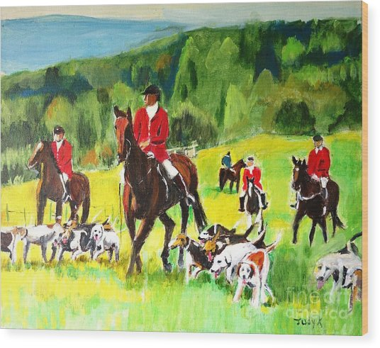Countryside Hunt Wood Print
