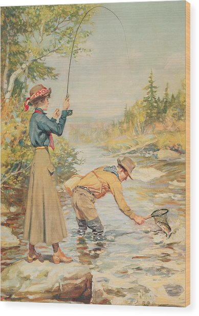 Couple Fishing On A River Wood Print