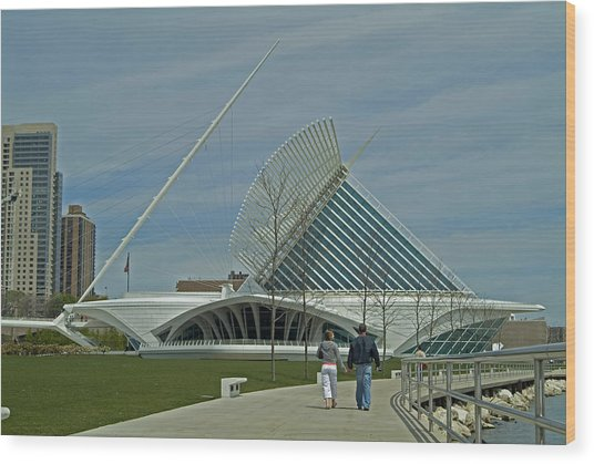 Couple In Front Of Milwaukee Art Museum Wood Print by Devinder Sangha