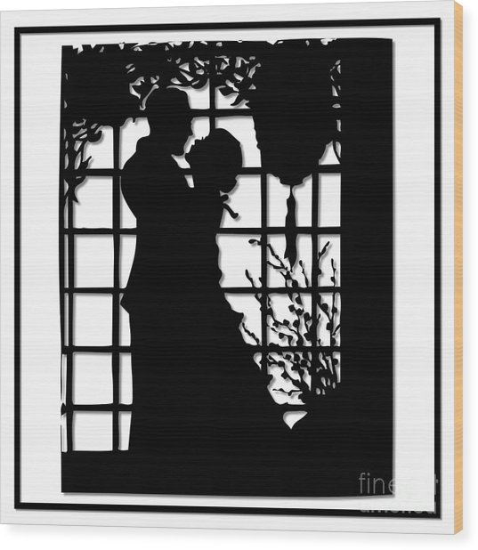 Wood Print featuring the digital art Couple In Love Silhouette by Rose Santuci-Sofranko
