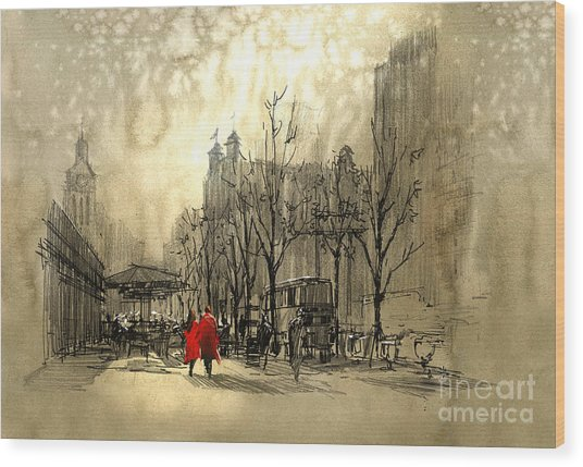 Couple In Red Walking On Street Of Wood Print