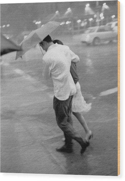 Couple In The Rain Wood Print