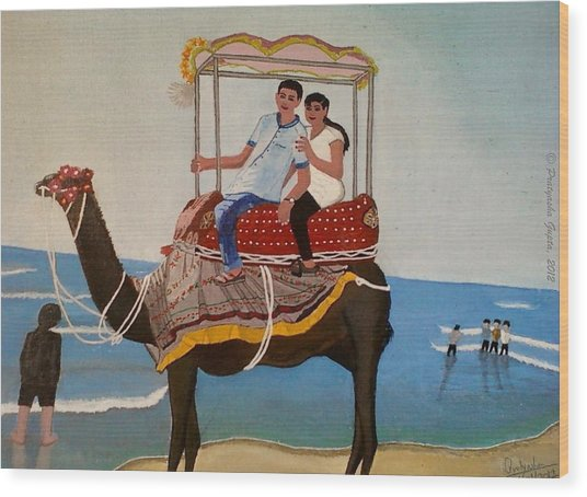 Couple On Camel Wood Print