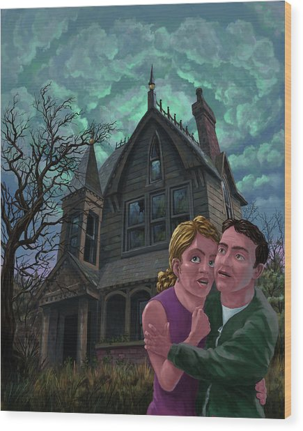 Couple Outside Haunted House Wood Print