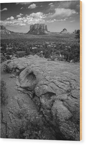 Courthouse Butte In Sedona Bw Wood Print