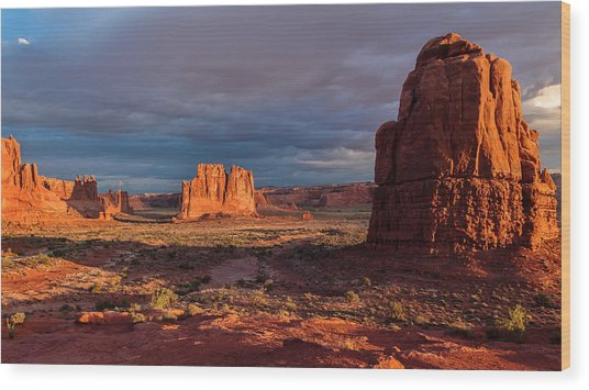 Courthouse Towers View At Sunrise Wood Print by Karma Boyer