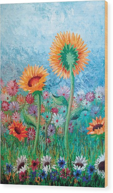 Courting Sunflowers Wood Print