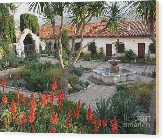 Courtyard Of The Carmel Mission Wood Print