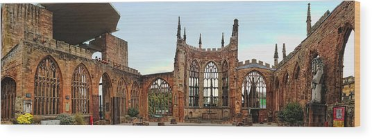 Coventry Cathedral Ruins Panorama Wood Print