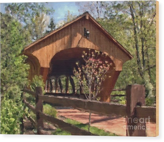 Covered Bridge At Olmsted Falls-spring Wood Print