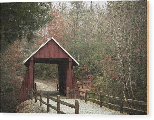 Covered Bridge Wood Print by Cindy Rubin
