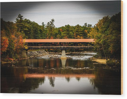Covered Bridge Conway New Hampshire Wood Print by Michael Donovan