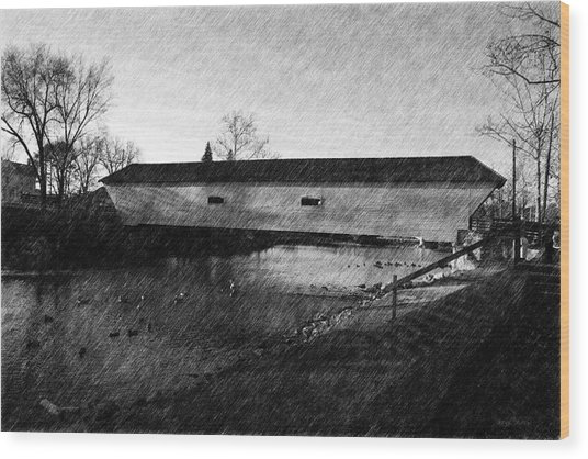Covered Bridge Elizabethton Tennessee C. 1882 Wood Print by Denise Beverly