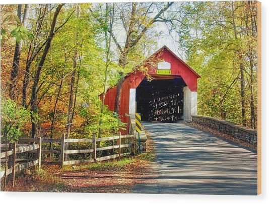 Covered Bridge In Bucks County Wood Print