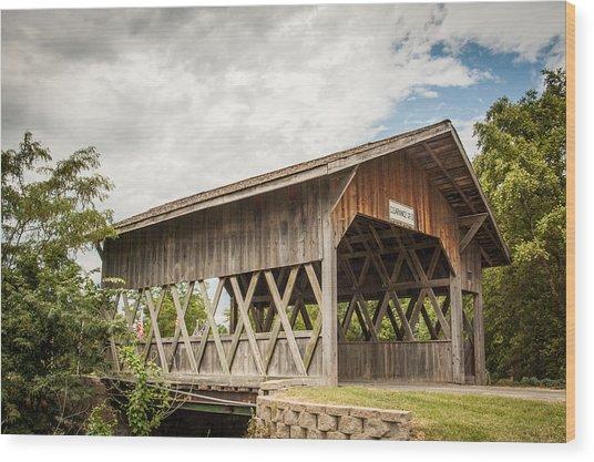 Covered Bridge In Nebraska Wood Print
