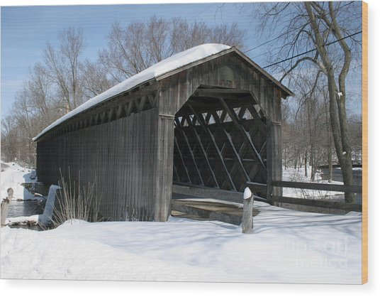 Covered Bridge In Winter Wood Print