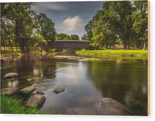 Covered Bridge Long Exposure Wood Print