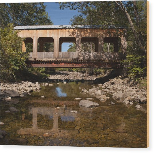 Covered Bridge Near Jamaica Vermont Wood Print