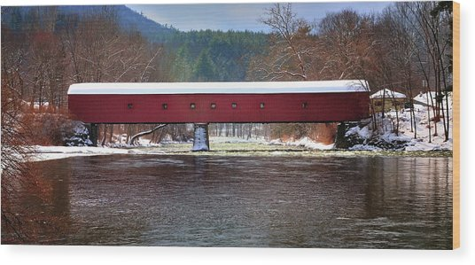 Covered Bridge Of West Cornwall-winter Panorama Wood Print