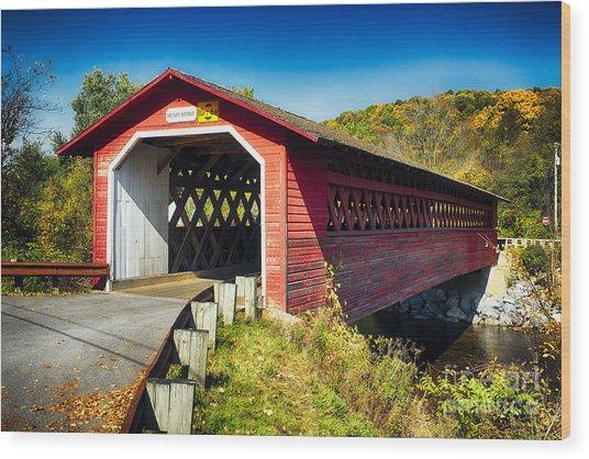 Covered Bridge Over The Waloomsac River Wood Print