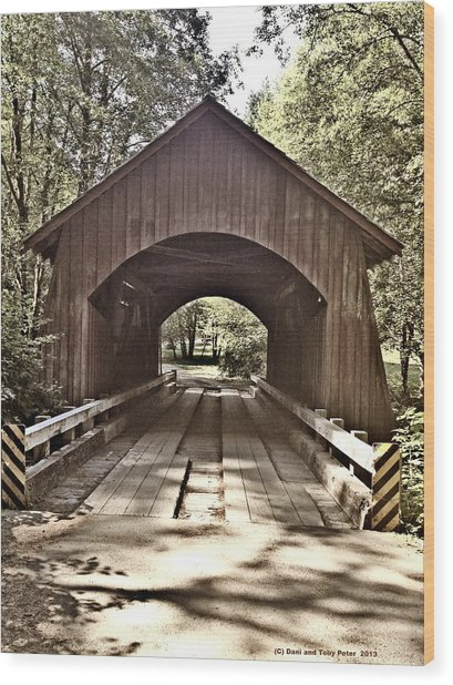 Covered Bridge Yachats Oregon Wood Print