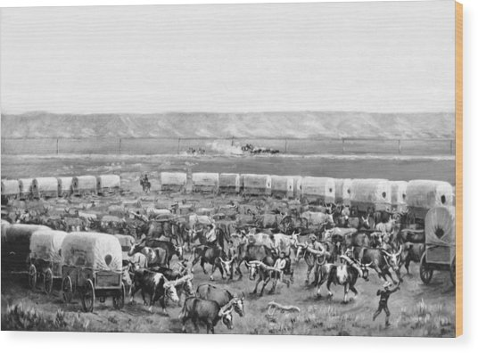 Covered Wagon Corral Wood Print