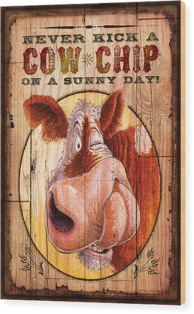 Cow Chip Wood Print