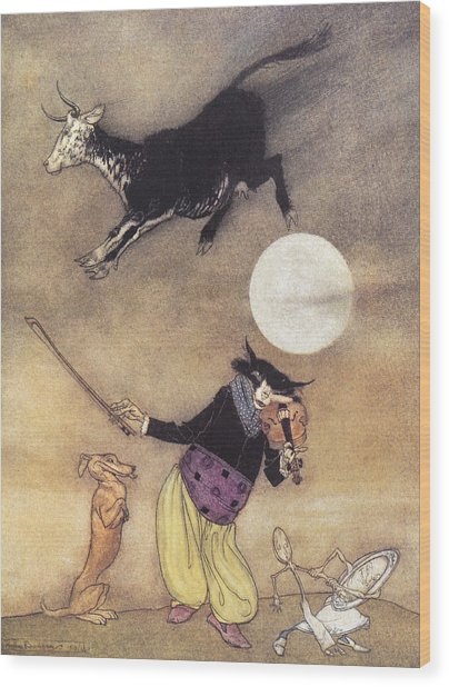 Cow Jumped Over The Moon Wood Print