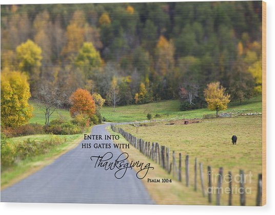Cow Pasture With Scripture Wood Print