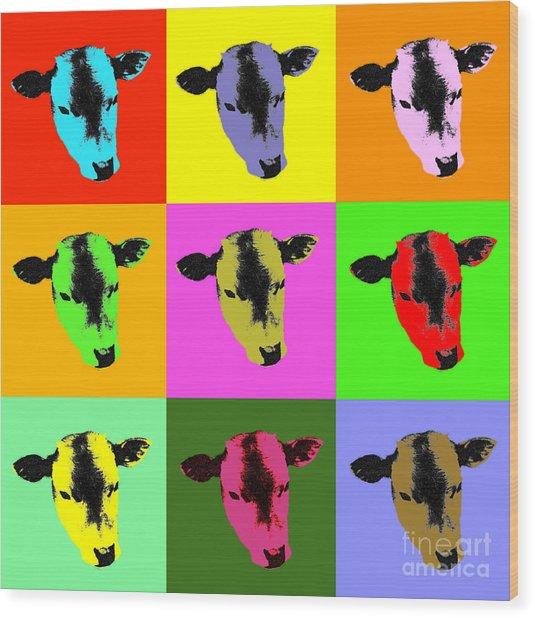 Cow Pop Art Wood Print