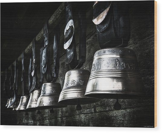 Wood Print featuring the photograph Cowbells by Ryan Wyckoff