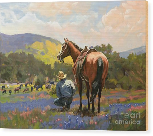 Cowboy And His Cows Wood Print