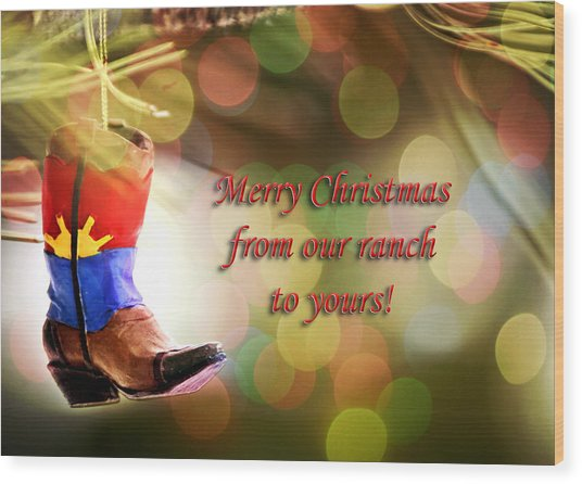 Cowboy Boot Christmas Wood Print