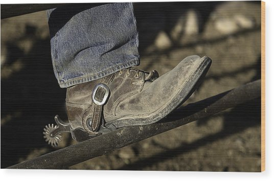 Wood Print featuring the photograph Cowboy Boots And Spurs by James Sage