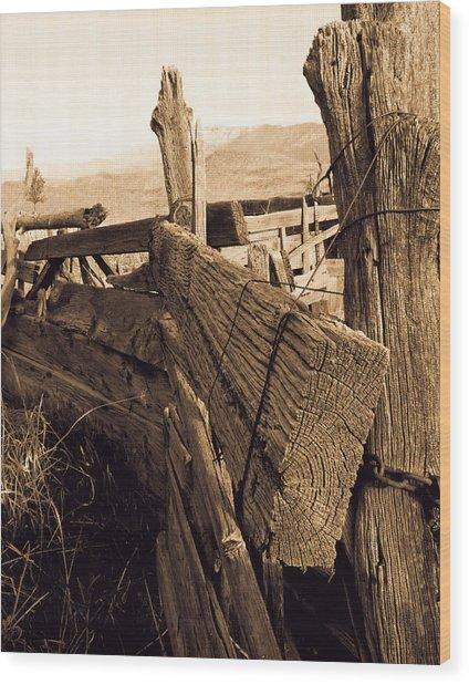 Cowboy Corral Wood Print