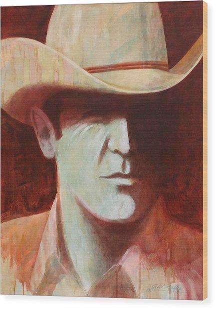 Cowboy Wood Print by J W Kelly